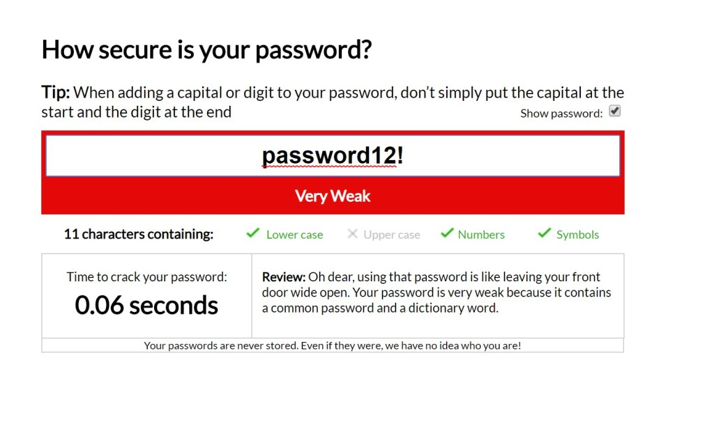 Check how secure your password is